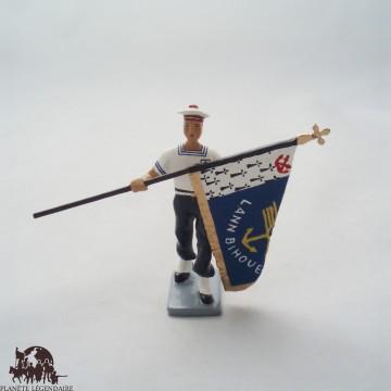 Figurine di portatore di CBG Mignot Bagad Lann Bihoue bandiera