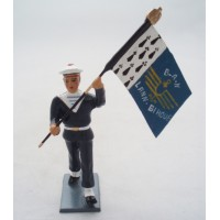 CBG Mignot door banner Bagad Lann Bihoué holding winter figurine