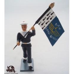 Figurine CBG Mignot Porte Drapeau Bagad Lann Bihoué Tenue Hiver
