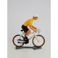 Figurine CBG Mignot Cycliste du Tour de France Maillot jaune en danseuse