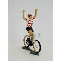 Figurine CBG Mignot Cycliste du Tour de France Maillot à Pois bras en l'air